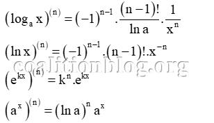 công thức đạo hàm hàm số mũ và logarit