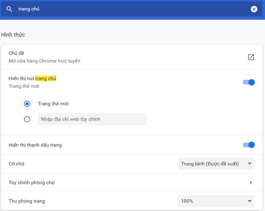 cài đặt google làm trang chủ trên Google Chrome
