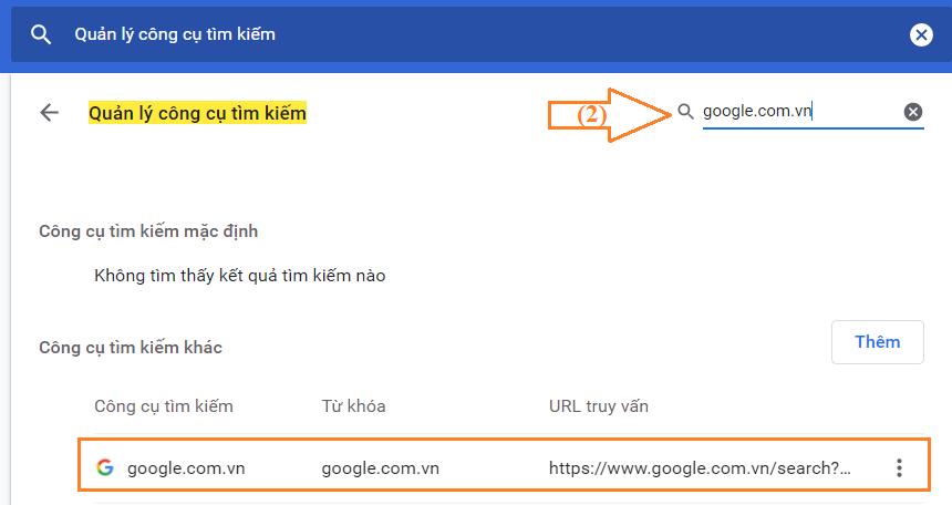 Đặt trang google.com làm công cụ tìm kiếm